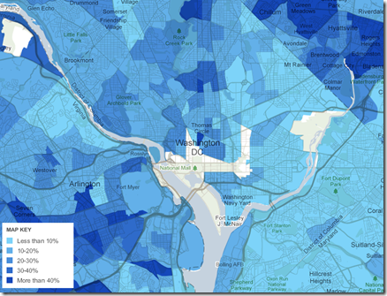 Heat map of washington DC showing percent of foreign born population