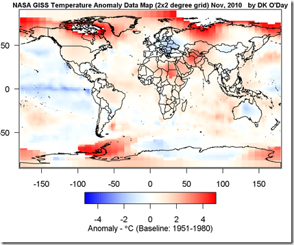 Heat map of world temperature anomolies in 2010